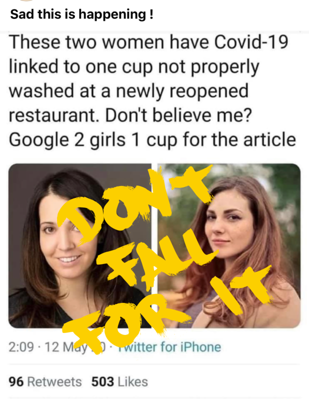 Do not fall for the 2 Girls and a cup COVID-19 social media posts!